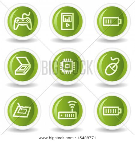 Electronics web icons set 2, green circle buttons