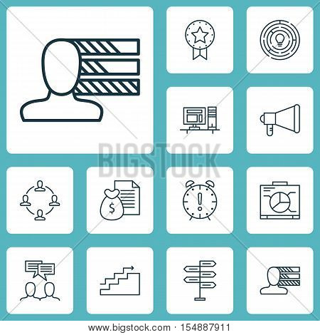 Set Of Project Management Icons On Present Badge, Personal Skills And Opportunity Topics. Editable V
