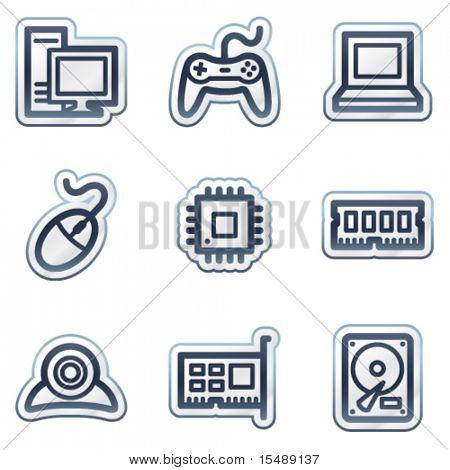 Computer web icons, deep blue contour sticker series