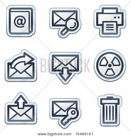 E-mail web icons set 2, deep blue contour sticker series