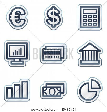 Finance web icons set 1, deep blue contour sticker series