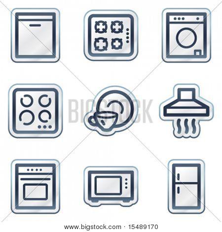 Home appliances web icons, deep blue contour sticker series