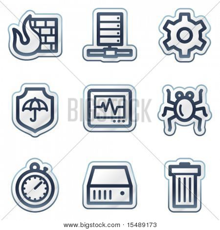 Internet security web icons, deep blue contour sticker series