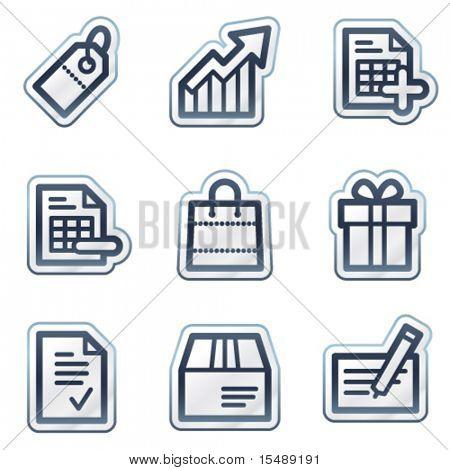 Shopping web icons set 1, deep blue contour sticker series