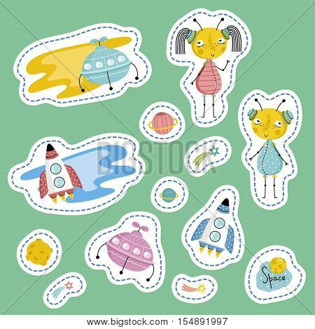 Space cartoon stickers. Flying saucers, rockets, Saturn, Moon, falling star or comet, cute alien boy and girl vector illustrations isolated on green background. Counters for table games, price tags
