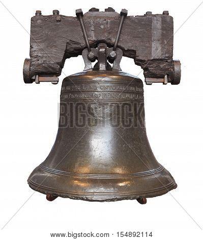 Liberty Bell isolated in Philadelphia, Pennsylvania, USA