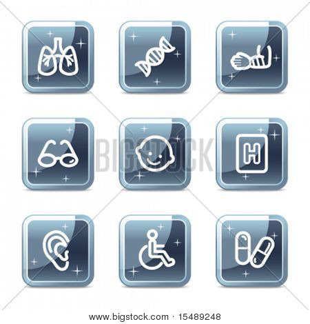 Medicine web icons set 2, mineral square glossy buttons