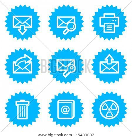 E-mail web icons set 2, blue sticker series