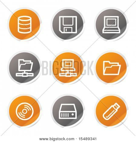 Drives and storage web icons, orange and grey stickers
