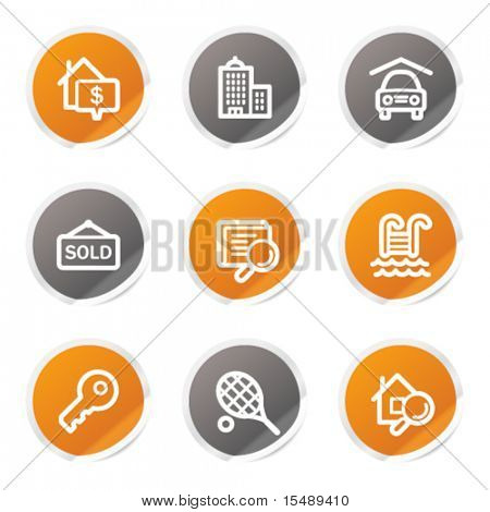 Real estate web icons, orange and grey stickers