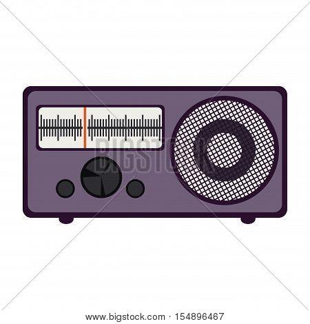 retro purple radio  icon over white background. vector illustration