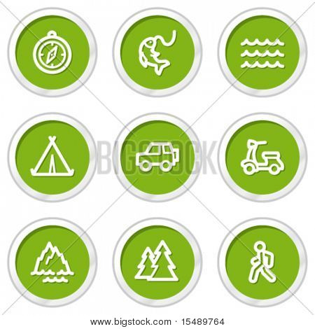 Travel web icons set 3, green circle buttons