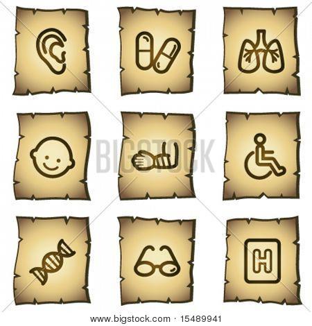 Medicine web icons set 2, papyrus series