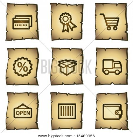 Shopping web icons set 2, papyrus series