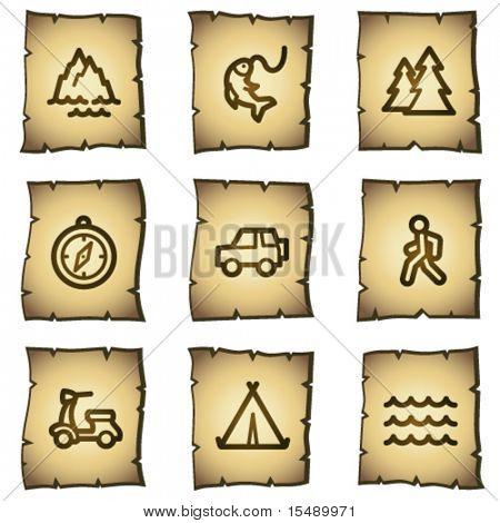 Travel web icons set 3, papyrus series