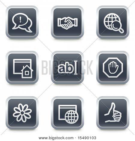 Internet web iconos set 1, gris botones cuadrados