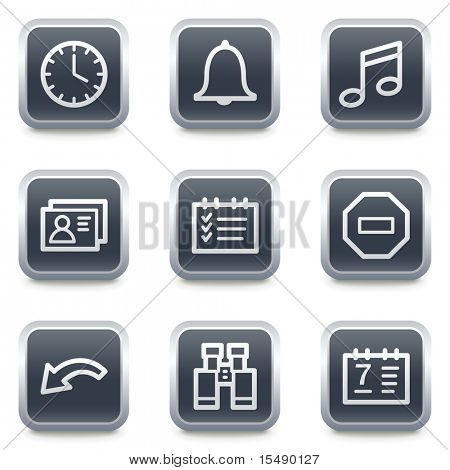 Organizer web icons, grey square buttons
