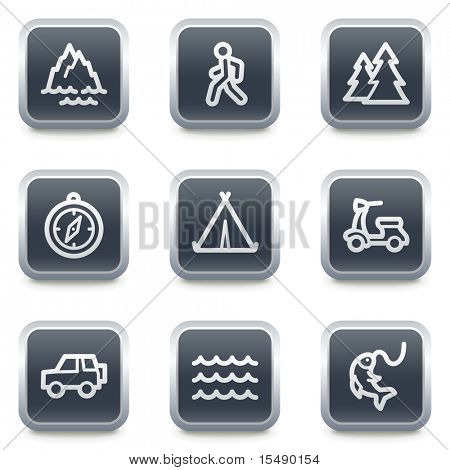 Travel web icons set 3, grey square buttons