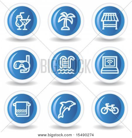 Vacation web icons, blue glossy circle buttons
