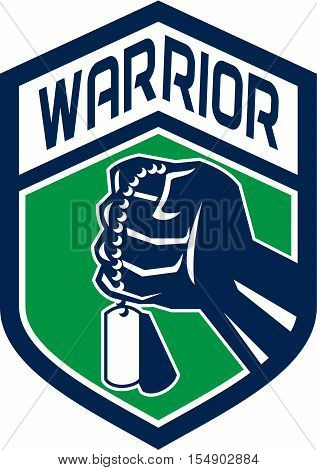 Illustration of a clenched fist clutching holding dogtag set inside shield crest with the word text Warrior done in retro style.