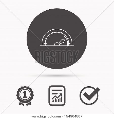 Speedometer icon. Speed tachometer with arrow sign. Report document, winner award and tick. Round circle button with icon. Vector