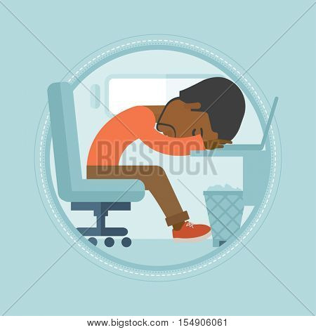 An african-american overworked employee sleeping in office. Overworked employee resting at workplace. Overworked office worker. Vector flat design illustration in the circle isolated on background.