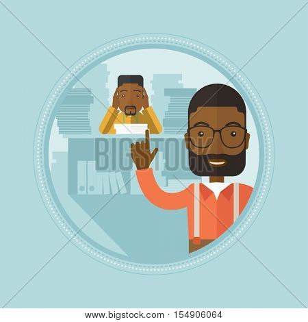 An african stressed office worker looking at his employer. Stressful employee sitting at workplace. Concept of stress at work. Vector flat design illustration in the circle isolated on background.