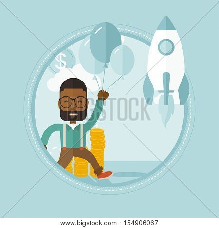 An african businessman flying near business start up rocket. Business start up concept. Man came up with a business startup. Vector flat design illustration in the circle isolated on background.