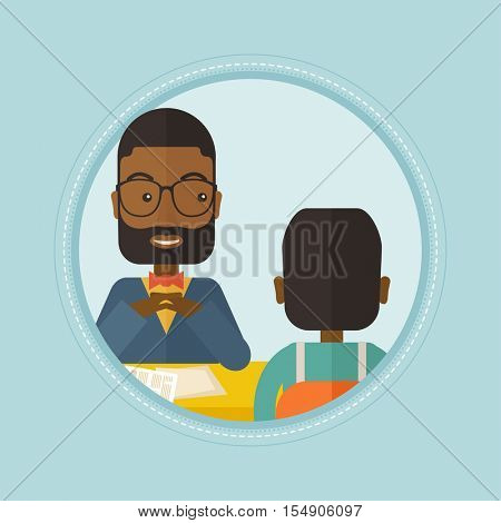 An african-american human resource manager talking with job applicant. Job applicant during job interview for the position. Vector flat design illustration in the circle isolated on red background.