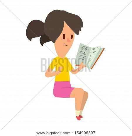 Little cute girl reading book sitting on book stack. Girl reading book female literature beautiful people. Education leisure happy girl reading book learning school rest vector.