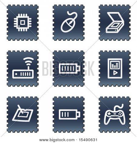 Electronics web icons set 2, navy stamp series