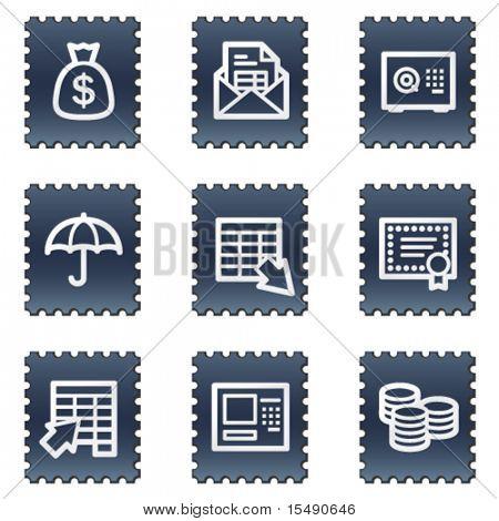 Banking web icons, navy stamp series