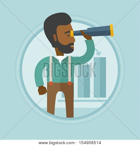 An african man searching opportunities for business growth. Business growth concept. Man with spyglass looking for business growth. Vector flat design illustration in the circle isolated on background