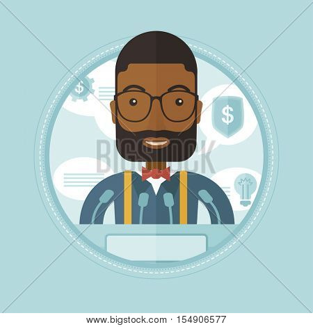African-american speaker giving speech at podium at business conference. Businessman giving a speech at podium at business seminar. Vector flat design illustration in the circle isolated on background