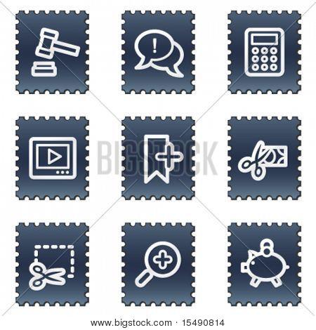 Shopping web icons set 3, navy stamp series