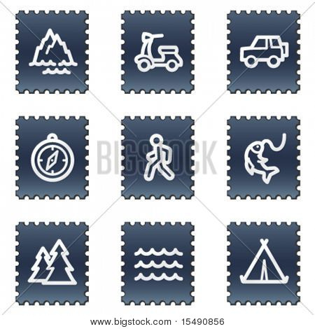 Travel web icons set 3, navy stamp series