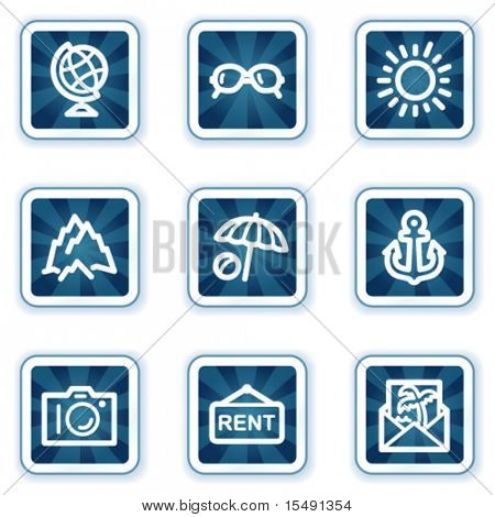 Travel web icons set 5, navy square buttons