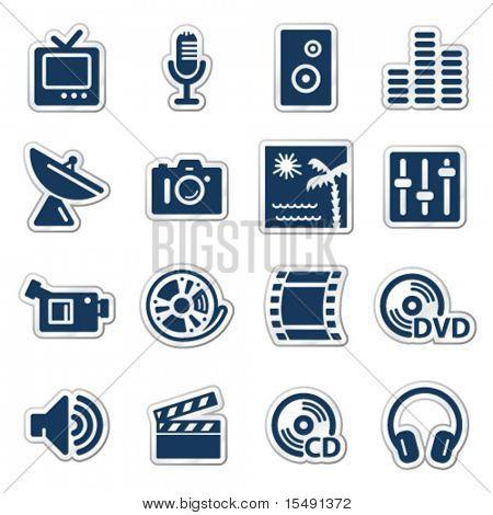 Media web icons, navy sticker series