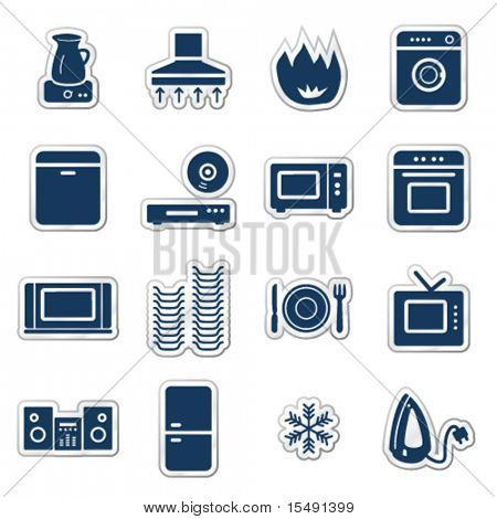 Home appliances web icons, navy sticker series