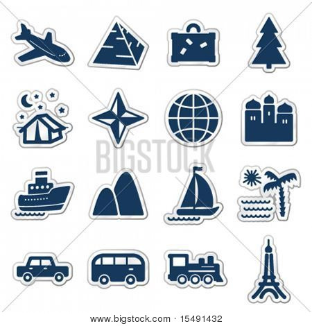 Travel web icons, navy sticker series