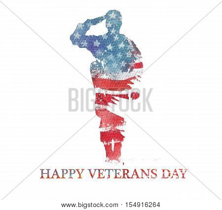 Watercolor illustration.Vegterans day. America USA flag. Text Happy Veterans Day.