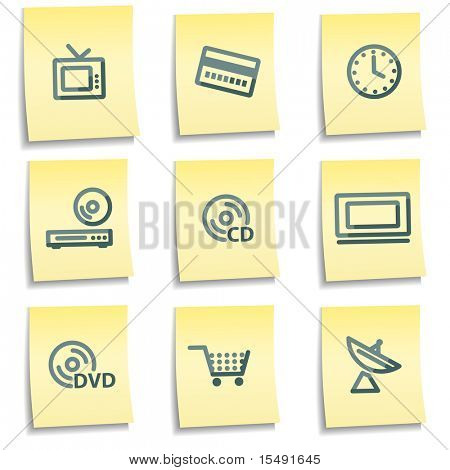Los iconos de los medios de comunicación, notas de amarillo serie
