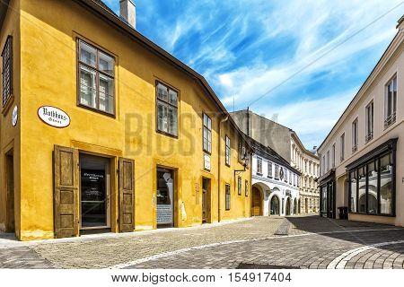 BADEN AUSTRIA - JUNE 26 2016: Beethoven House Baden (Rathausgasse 10) is a museum of Ludwig van Beethoven in Baden bei Wein. The composer spent 15 years his summer in Baden.