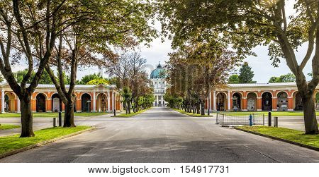 View of Zentralfriedhof Central Cemetery in Vienna Austria.