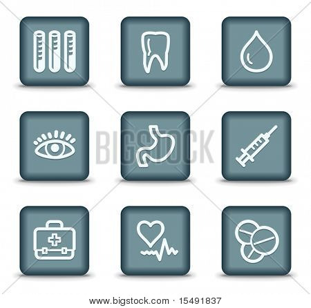 Medicine web icons set 1, grey square buttons