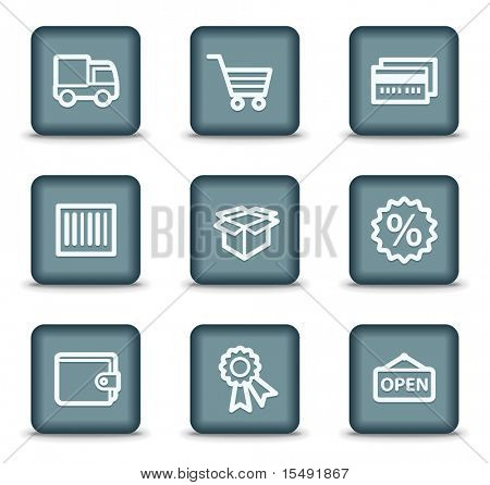 Shopping web icons set 2, grey square buttons