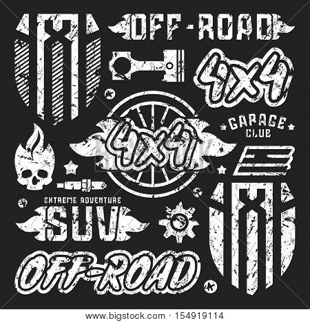 Stock vector set of off-road car badges. Graphic design elements with shabby texture for t-shirt. White print on black background