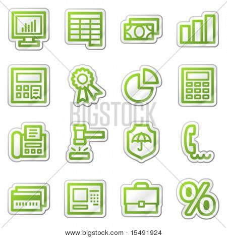Finance web icons set 1, green sticker series