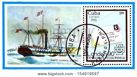 STAVROPOL RUSSIA - November 01 2016: a stamp printed in Cuba shows Steamship Leith Great Britain No 1 on Cover London 1990 circa 1990.