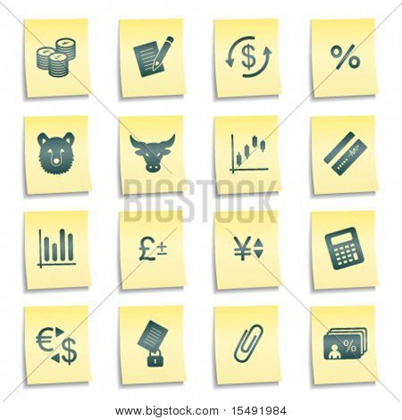 Finance web icons, yellow notes stickers